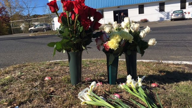 Flowers were laid where 52-year-oldRudy Chacon Portillo was  struck by a vehicle West Haven on Sunday (WFSB)