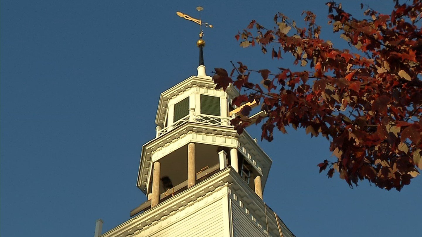 The North Congregational Church in Woodbury is having part of its steeple replaced because of extensive rot. (WFSB photo)