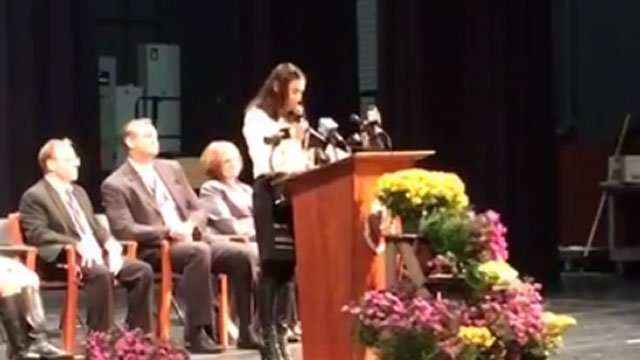 Danner addresses the student body after the announcement. (WFSB)