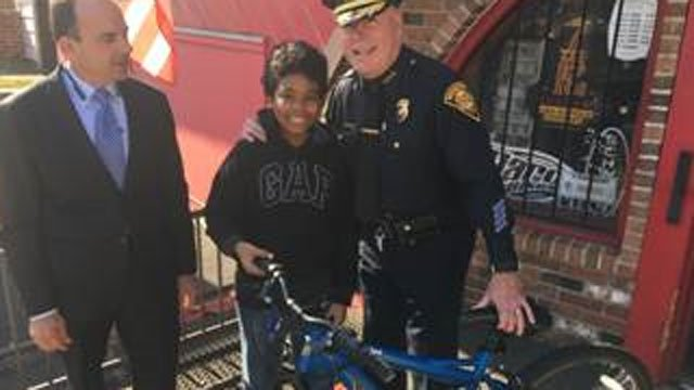 Officers got a Bridgeport teenager a new bicycle after he was attacked and robbed last month.  (Bridgeport Police Department)