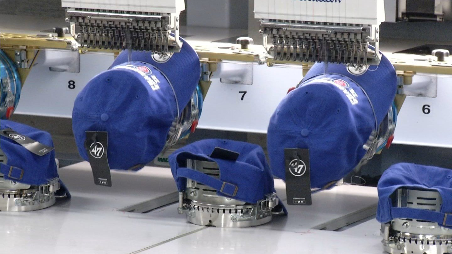 Gima Sport in Hartford plans on pumping out 15,000 Chicago Cubs hats. (WFSB photo)