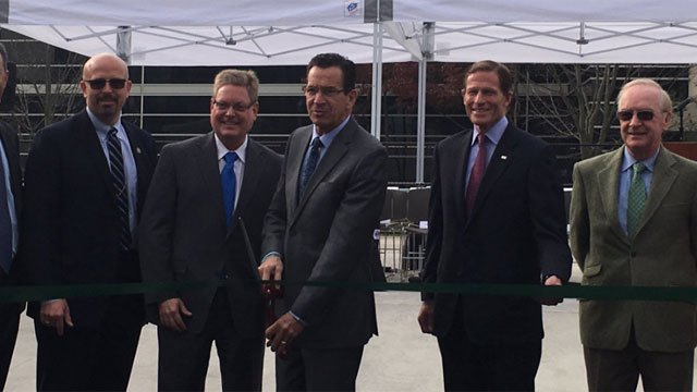 Gov. Dannel Malloy was cuts ribbon for fuel cell power at Pfizer in Groton (WFSB)