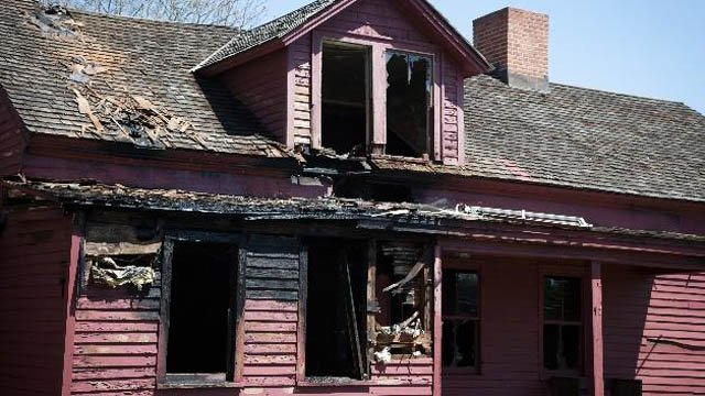 The Derrin House shortly after flames tore through it in May. (Avon Historical Society photo)