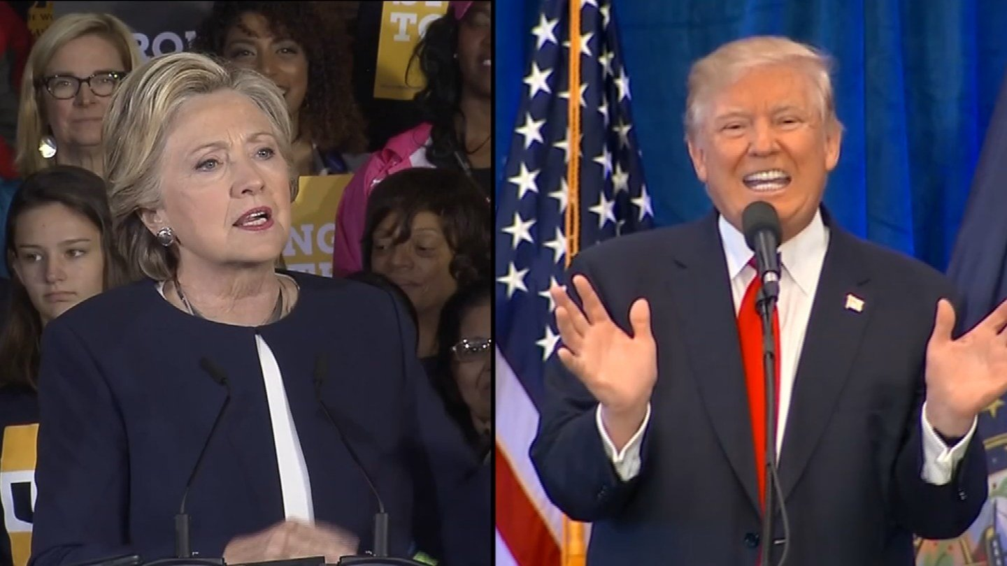 Hillary Clinton leads Donald Trump by 4 percentage points in the latest CBS News poll. (CBS photos)