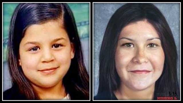 The left photo shows what Bianca Lebron looked like when she went missing, and the right photo shows what she would look like today. (National Center for Missing & Exploited Children)