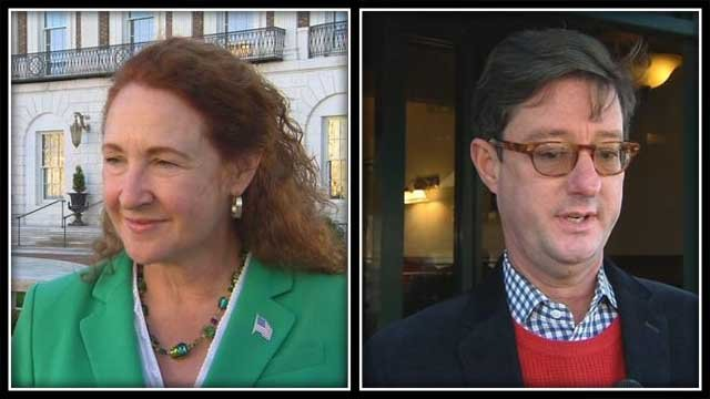Congresswoman Elizabeth Esty and her challenger Clay Cope (WFSB)