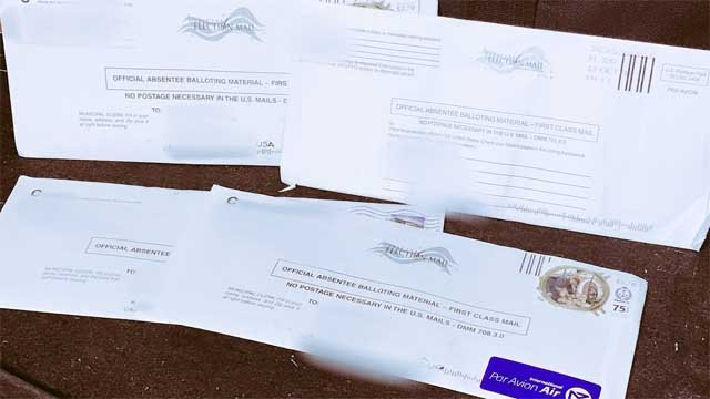 A Scotland man found 4 absentee ballots in his P.O. Box on Monday afternoon (WFSB)