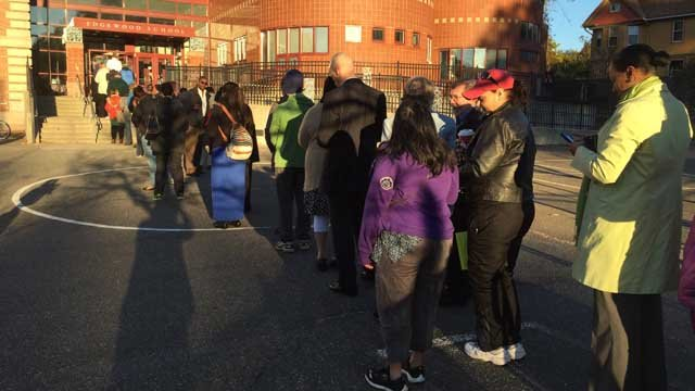 The line at the Edgewood School in New Haven was out of the door Tuesday morning. (WFSB photo)