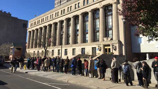 A voting line stretched around the City of New Haven Hall of Records Tuesday morning. (WFSB photo)