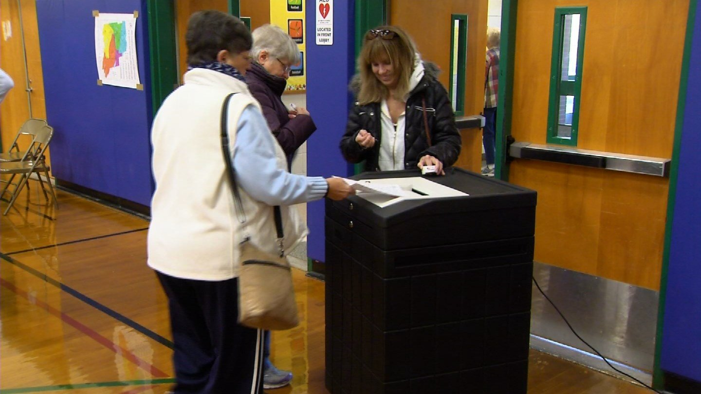 Voters were eventually able to cast their ballots in a functioning voting machine in Berlin after it failed Tuesday morning. (WFSB photo)
