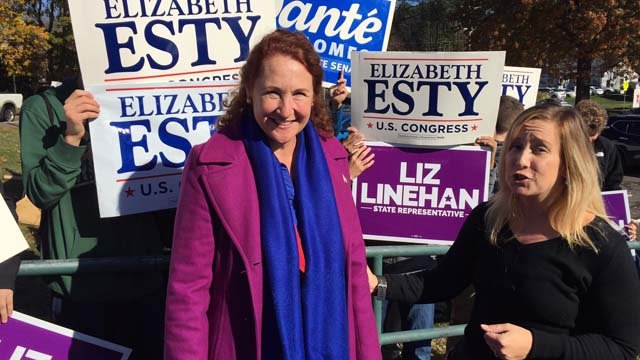 Rep. Elizabeth Esty cast her vote Tuesday morning. (WFSB photo)