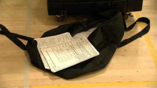 Ballots were spotted inside a duffel bag after a machine broke in Middletown (WFSB)
