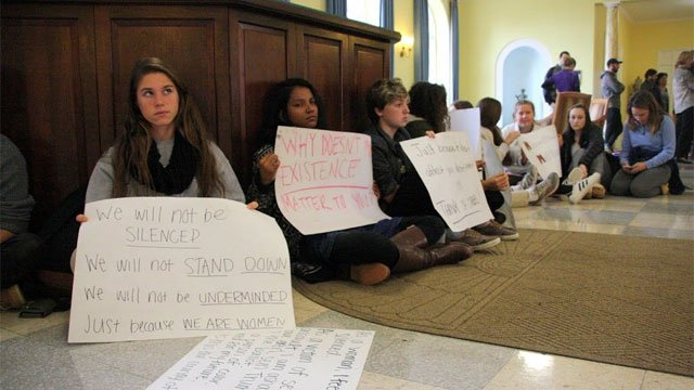 Students atEthel Walker School in Simsbury participated in the silent protest on campus.(The Ethel Walker School)
