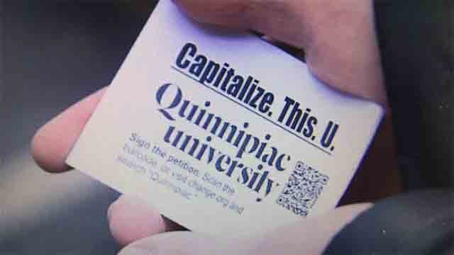 A QU student started a petition to change the school's new logo (WFSB)