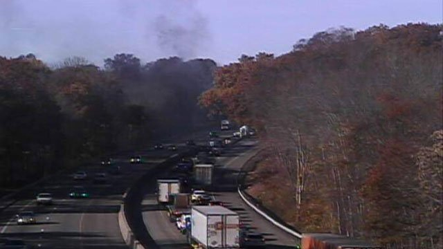 A truck fire was reported on Interstate 95 in Clinton on Thursday morning. (DOT)