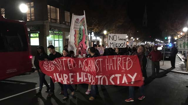 Hundreds were protesting in New Haven on Thursday night (WFSB)