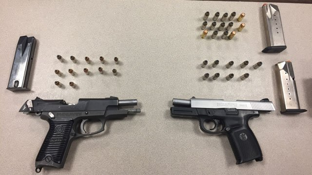 The fire arms seized by Hartford police on Wednesday. (Hartford police photo)