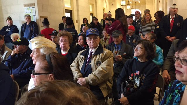 A Veterans Day ceremony was held Friday morning at Waterbury City Hall. (WFSB photo)