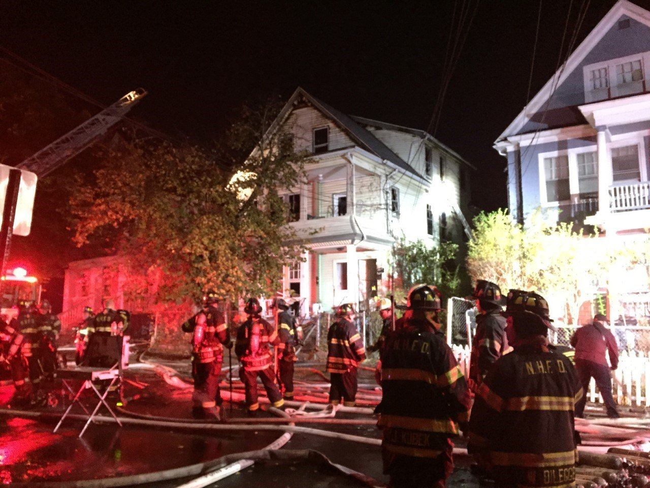 New Haven firefighters worked to put out a fire Friday night. (WFSB)