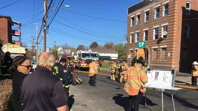 Crews responded to a fire in New Britain on Monday (WFSB)