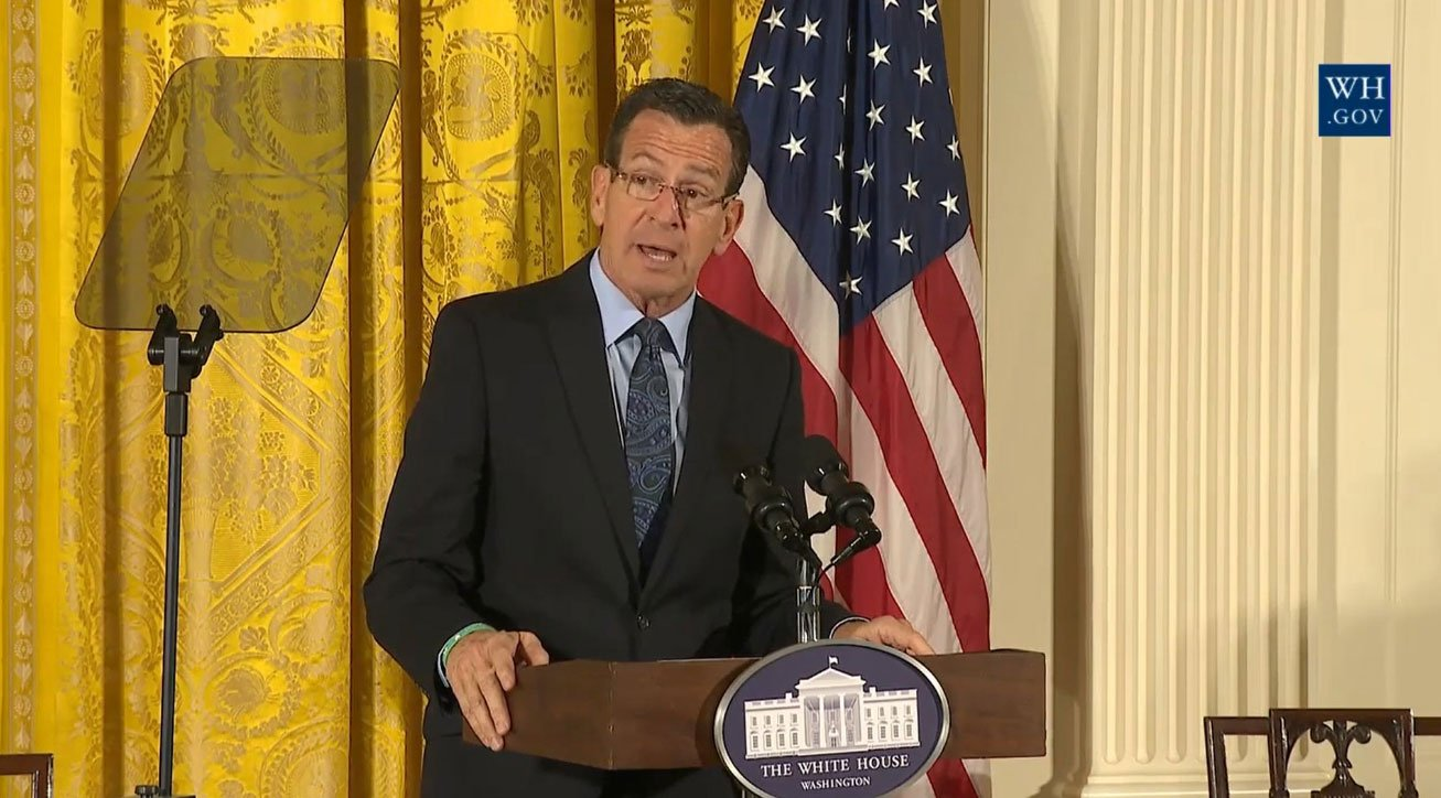 Governor Dannel P. Malloy spoke at The White House's Veterans Homelessness Summit about Connecticut's successful efforts to eliminate homelessness among veterans. (White House)