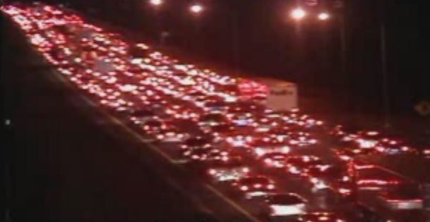 A crash involving tractor-trailer was causing delays on the northbound side of Interstate 91 in Wethersfield on Monday evening. (CT DOT)