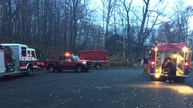 A stubborn brush fire continues to burn along rails to trails in Vernon. (WFSB photo)