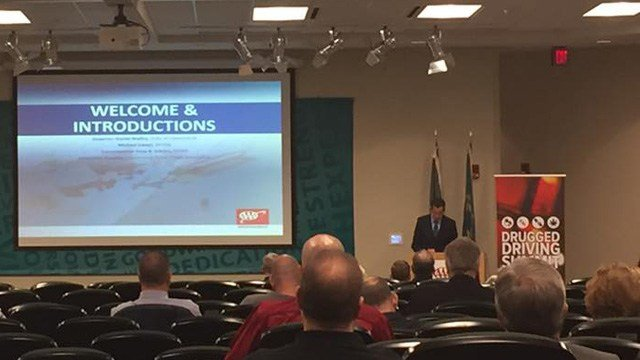 Gov. Dannel Malloy addresses law enforcement and other officials at a 'drugged driving' summit. (WFSB photo)