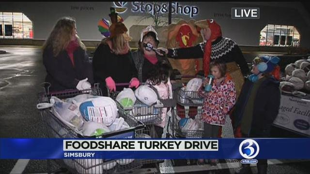 Scot Haney helped collect turkeys at Stop & Shop in Simsbury Wednesday morning. (WFSB photo)