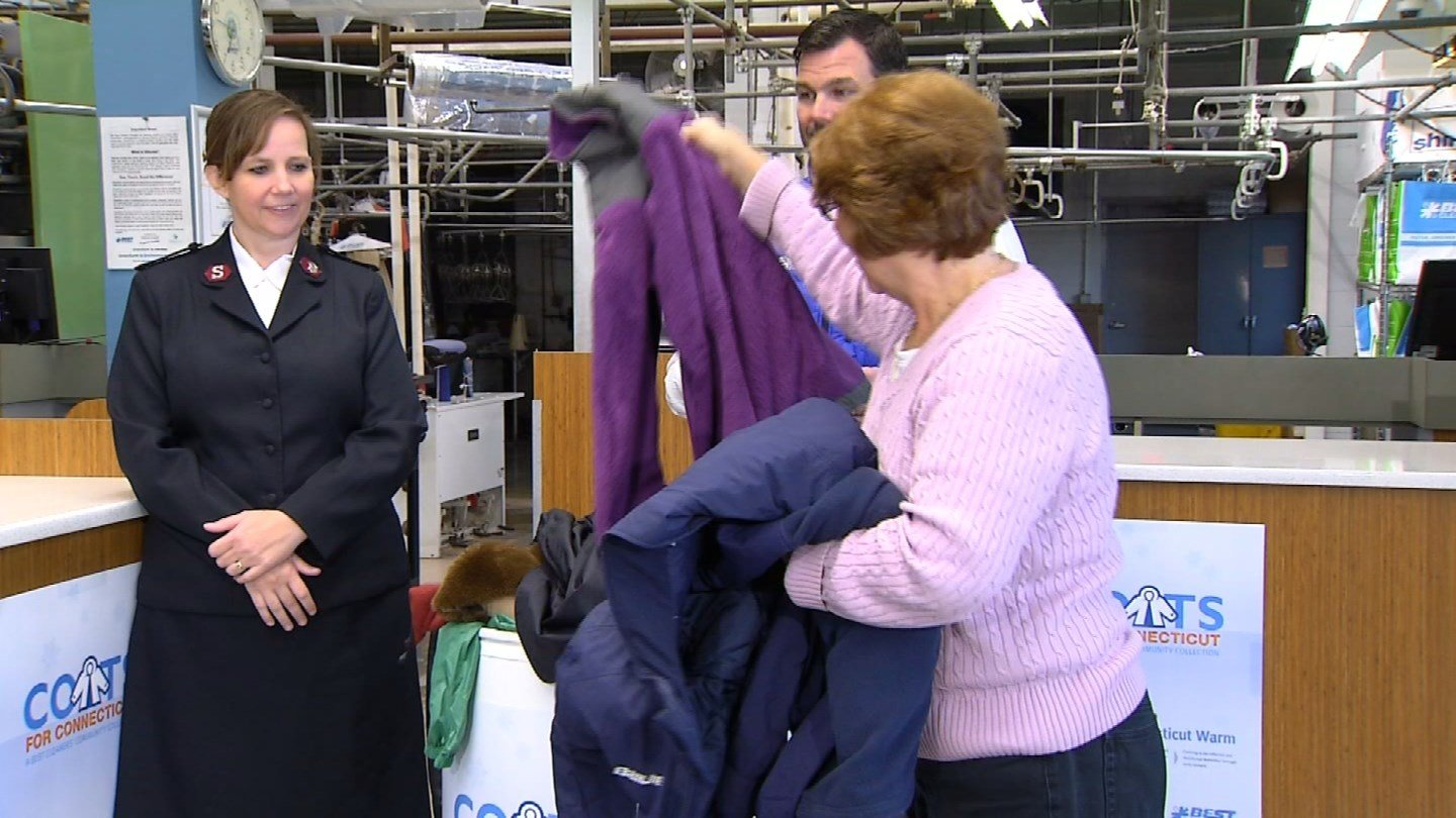 Coats were collected at Best Cleaners in Glastonbury beginning on Nov. 10. (WFSB photo)