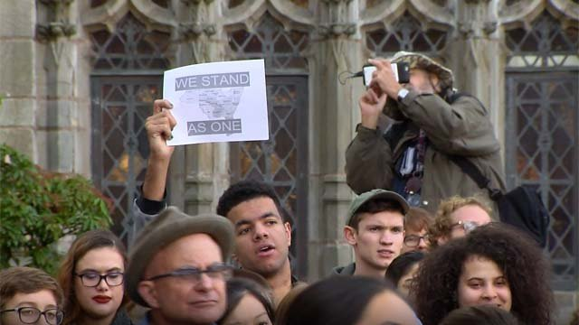 """Hundreds of college students participated in a nationwide """"walkout"""" on Wednesday (WFSB)"""