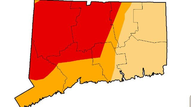 Dark red - extreme drought, orange - severe drought, yellow - moderate drought. (droughtmonitor.unl.edu photo)