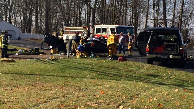 A single-vehicle crash closes Route 30. (WFSB)