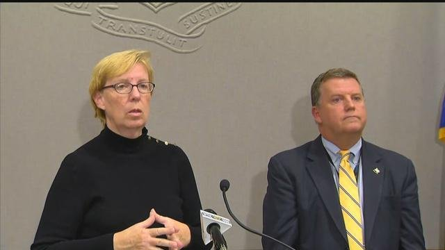 Sens. Cathy Osten and Tim Larson announce a plan for homeowners with crumbling foundations. (WFSB photo)