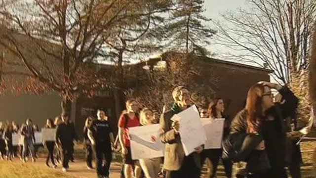 More than 100 students and faculty members protested on the University of Hartford's campus on Friday. (WFSB)