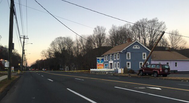 A section of Route 10 is closed after a car crashed into a pole. (Hamden PD)