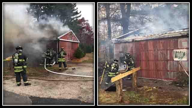 Crews battled a fire at a barn in Hamden on Sunday (Hamden Fire Dept.)