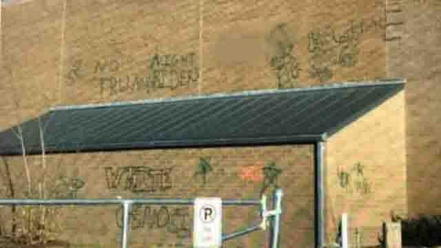 Vandals wrote on the outside of East Lyme High School. (WFSB)