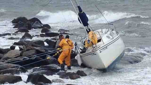 Emergency crews worked to rescue a boater in Waterford on Sunday. (iwitness)