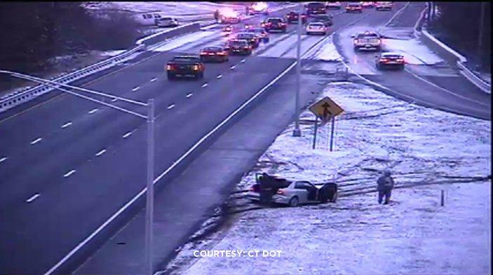 A multi-vehicle crash temporarily shut down I-84 west in Southington. (DOT photo)