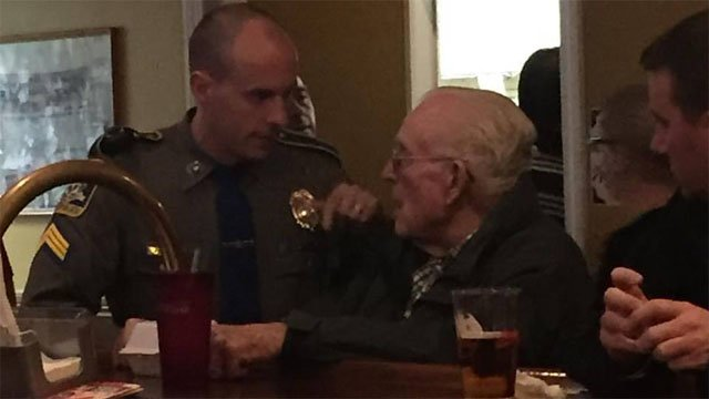 Sgt. Fettigan helped an elderly man on Friday night in East Granby (Joanie Politis Hacia)