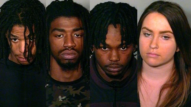 JoQuin Riley, Rayquaiwn Riley, Anthony Hodges and Sydney Zeppieri. (New London police photos)