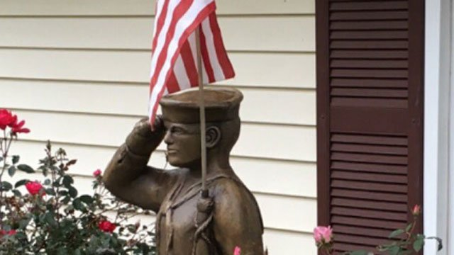 Enfield family spending Thanksgiving w/o their son because of naval deployment, discovers statue in his honor was stolen. (WFSB)