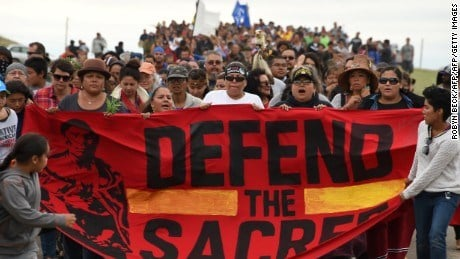 Protesters at Standing Rock fight the pipeline that will run through the Missouri River. (CNN)