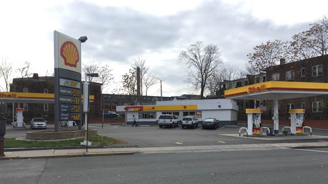 Police arrested one person after a large crowd caused property damage at a city gas station (WFSB)