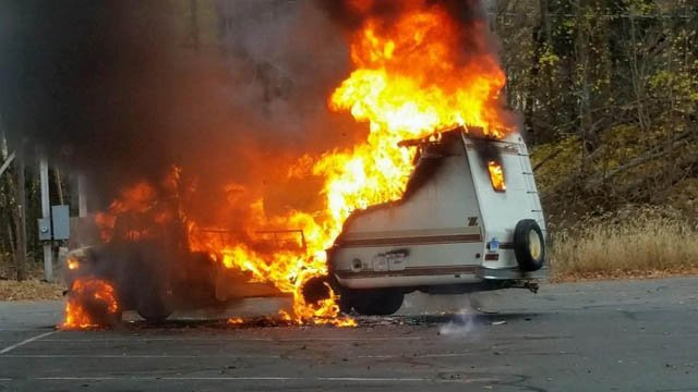 Crews fought an RV fire in South Windsor on Sunday (South Windsor Fire Department)