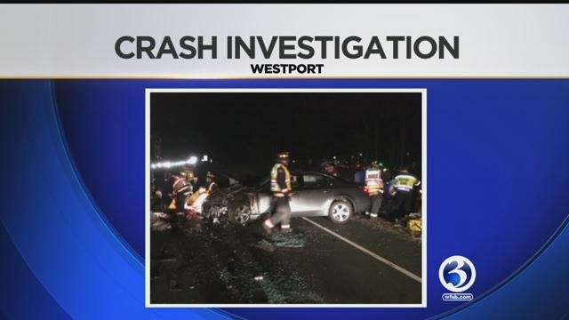 Six was injured in three-car accident on Merritt Parkway in Westport. (WFSB)