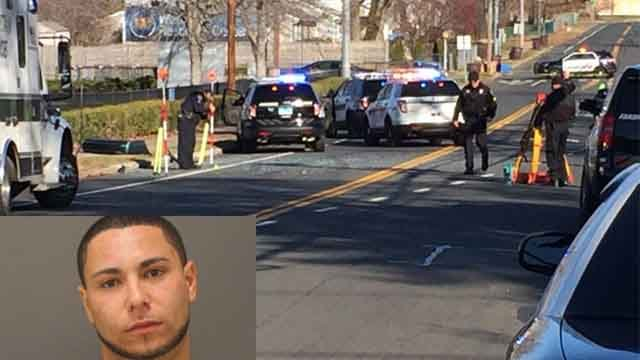 Kevin Colon is being charged in two robberies that resulted in a crash in New Britain on Monday (WFSB/Farmington police)