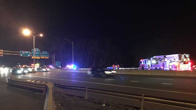 A person was hit by a car on the Bulkeley Bridge in East Hartford Thursday night (WFSB)