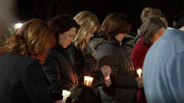 Dozens showed up for a vigil in Montville meant to raise awareness about the heroin epidemic (WFSB)